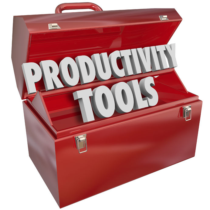 productivity tools words in a red metal toolbox to illustrate skills and knowledge to learn and practice to improve or increase efficiency and greater results, goal achievement and positive outcome