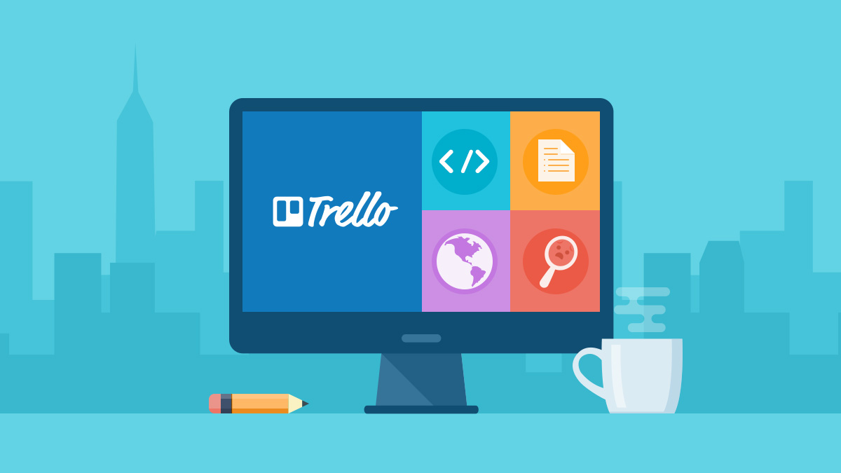 Using Trello - illustration of Trello on computer screen
