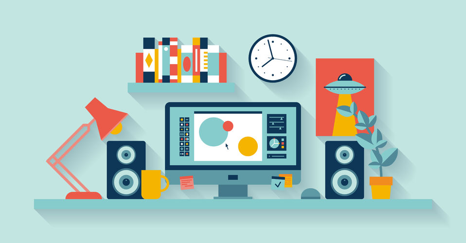 Hiring a web designer - illustration of creative desk with monitor