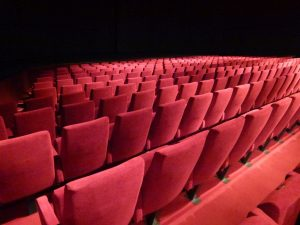target website audience - rows with red chairs in a theatre