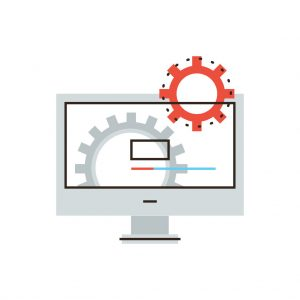 wordpress maintenance - thin line icon with flat design element of working computer, install new software, operating system, update support, mechanism works.