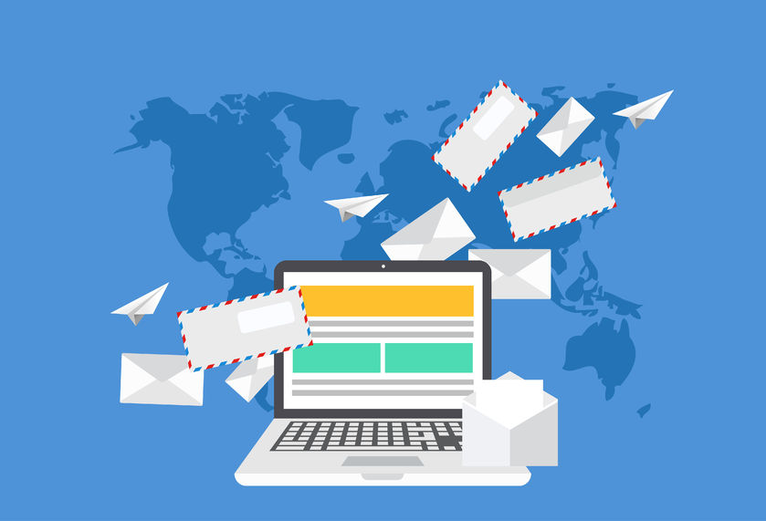 Email Marketing Tips: modern flat design of email marketing. laptop with envelope or letters on world map background