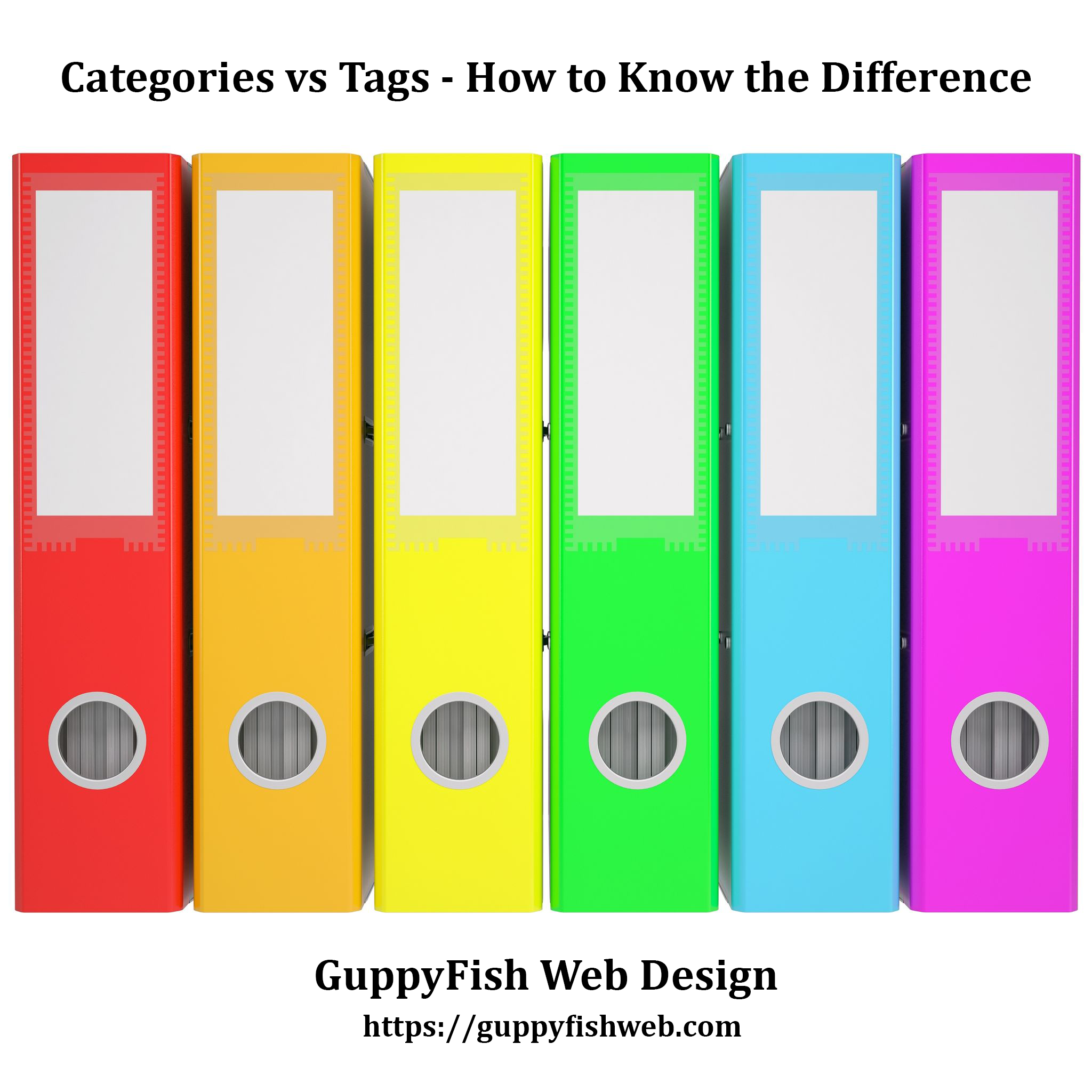 Categories vs Tags - How to Know the Difference (row of colored office binders)