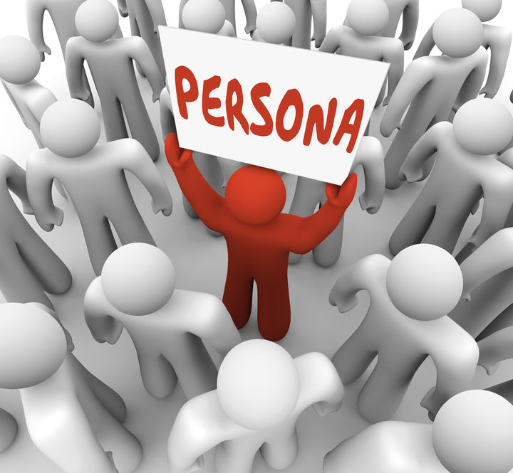marketing persona: Persona word on a sign held by a unique or different person in a group or crowd to illustrate the special needs or background of a customer or targeted audience member