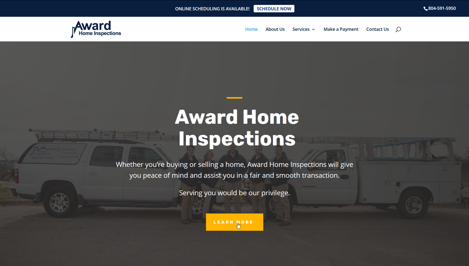 Snapshot of the website for Award Home Inspections in central Virginia