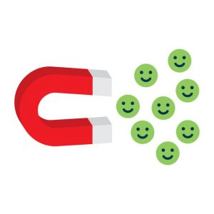 Lead magnet graphic with red magnet attracting green happy faces