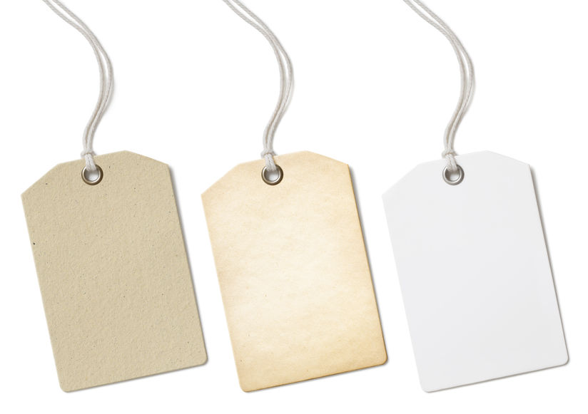 Website Tagline: Blank paper price tags or labels set isolated on white