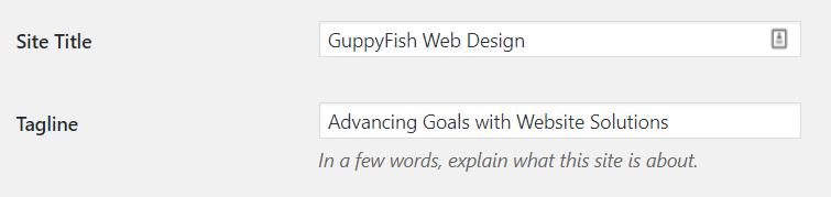 Screenshot of settings where you change your website tagline in wordpress