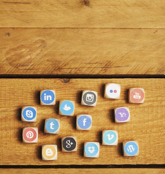 social media services - concept - cubes of social media icons as game. set of dices with logos from most popular social media networks, including facebook, google, instagram, twitter, pinterest, linkedin and many more