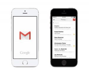 Gmail showing on mobile device