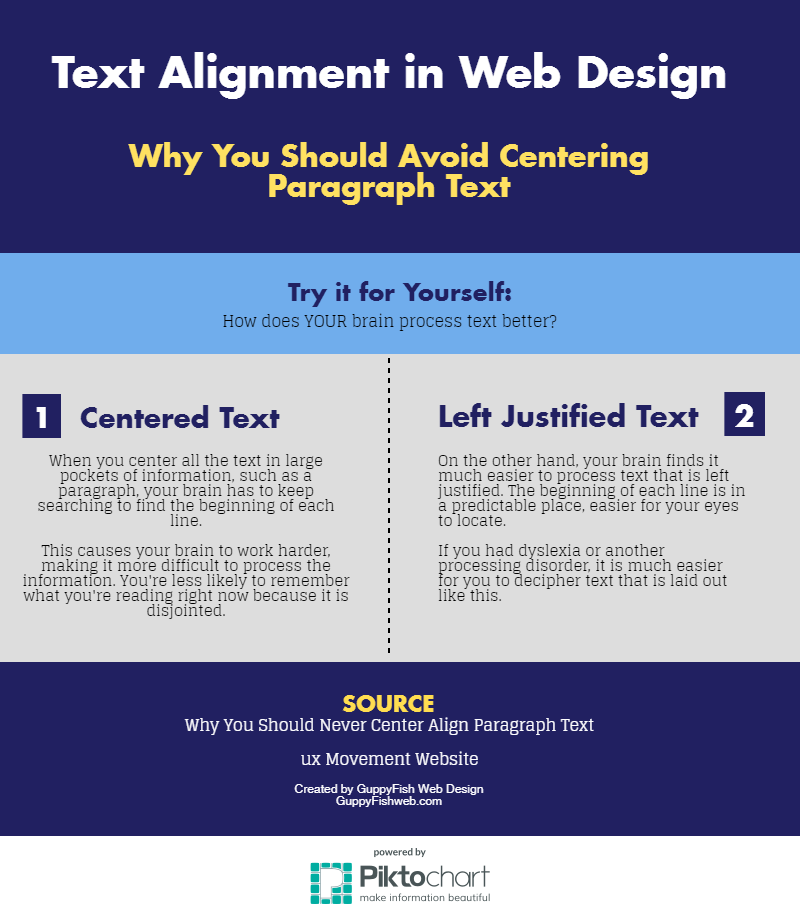 text alignment in web design infographic