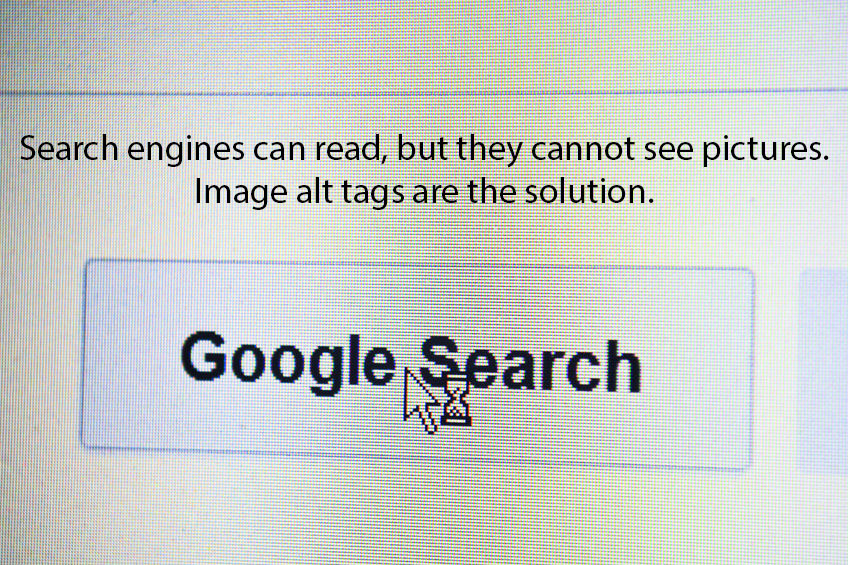 search engines can read, but they cannot see pictures. Image alt tags are the solution.