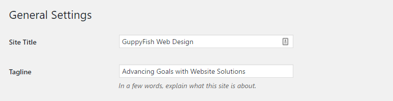 changing the website tagline in WordPress
