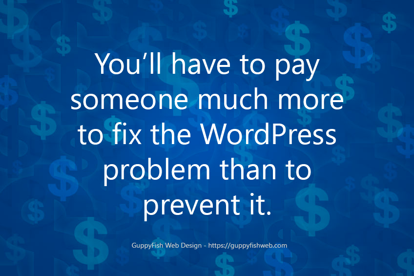 "blue background saying ""you'll have to pay someone much more to fix the WordPress problem than to prevent it."""