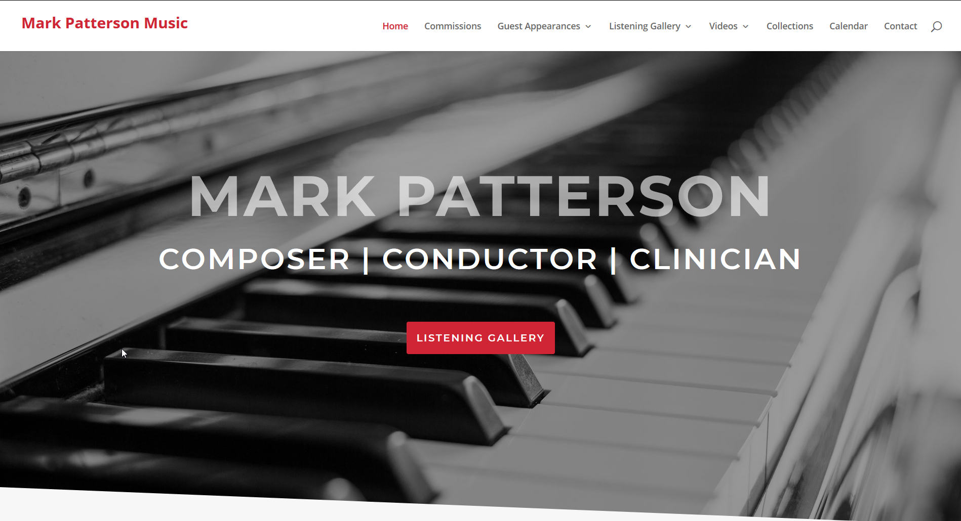 Screenshot of new website for Mark Patterson Music