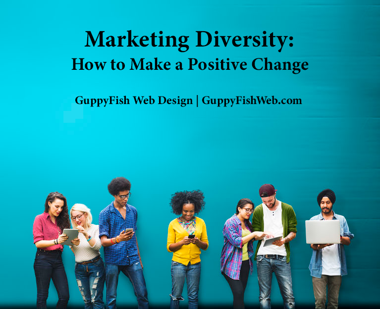Marketing Diversity - group of people of diverse ethnicity looking at tablets, computers, etc.