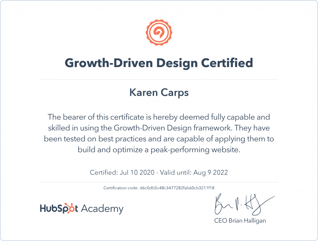Growth Driven Design Certification from HubSpot - Karen Carps