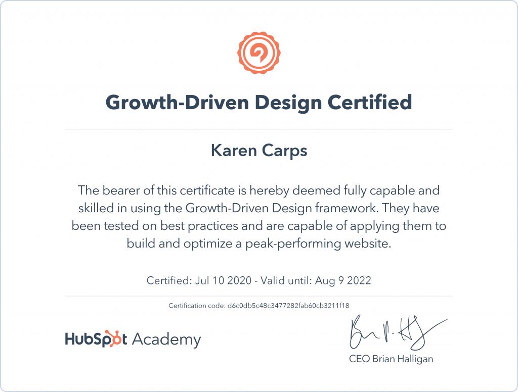 Growth Driven Design Certification from HubSpot - Karen Carps