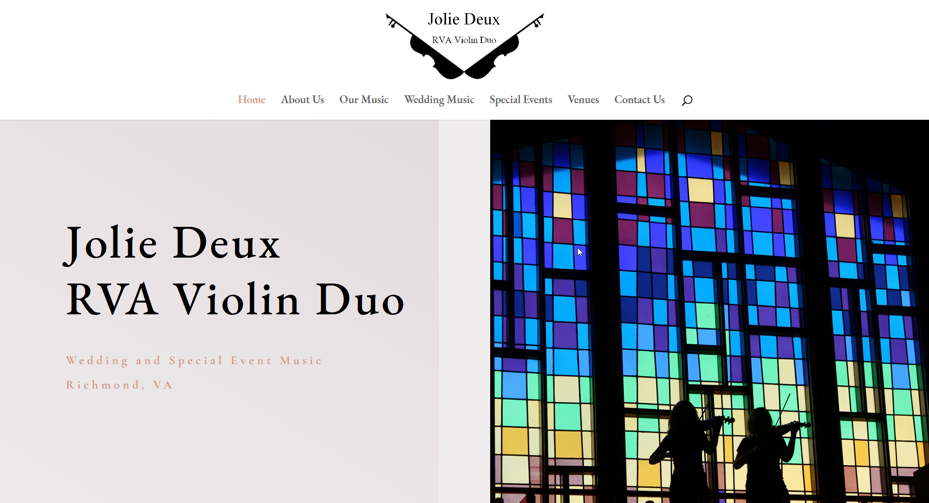 Jolie Deux Violin Studio Website Screenshot