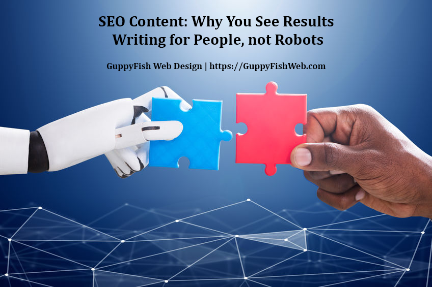 SEO Content - robot hand and human hand putting puzzle pieces together