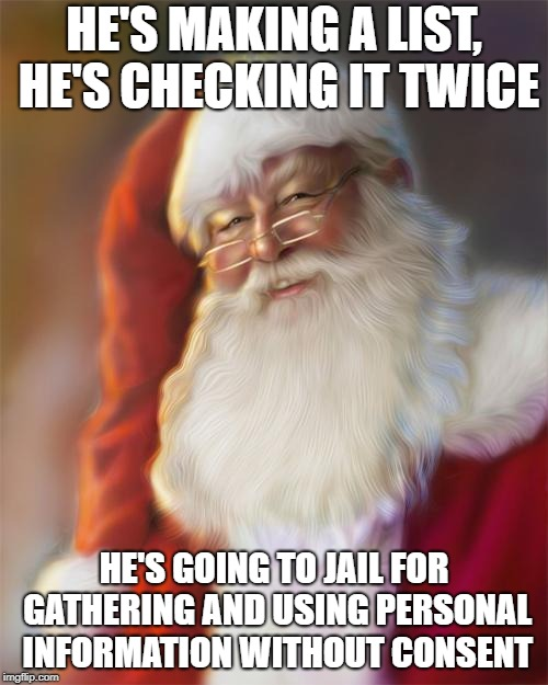 Data privacy law: Santa - He's making a list, he's checking it twice, he's going to jail for gathering and using personal information without consent