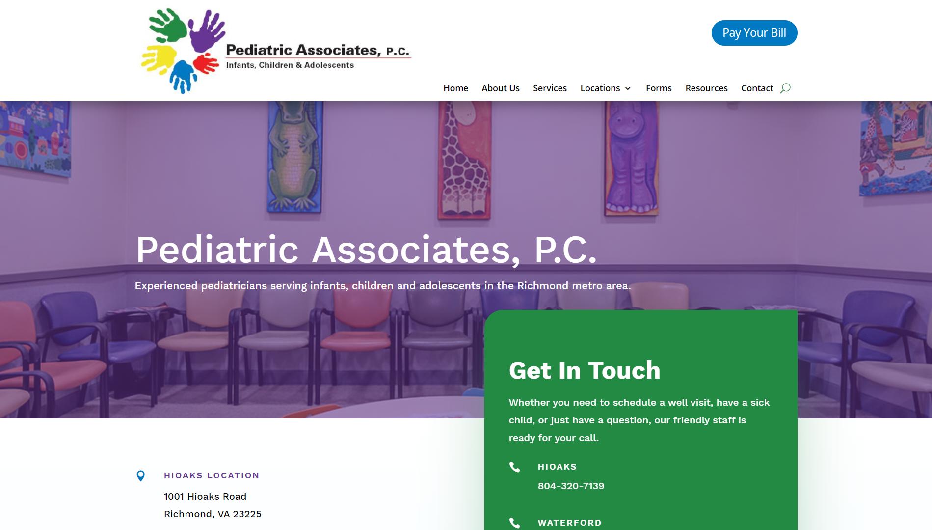Pediatric Associates Website Screenshot